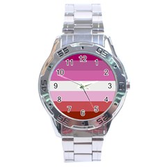 Lesbian Pride Flag Stainless Steel Analogue Watch by Valentinaart