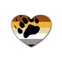 Bear Pride Flag Rubber Coaster (heart)  by Valentinaart