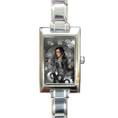 Steampunk, Steampunk Lady, Clocks And Gears In Silver Rectangle Italian Charm Watch by FantasyWorld7