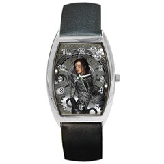 Steampunk, Steampunk Lady, Clocks And Gears In Silver Barrel Style Metal Watch by FantasyWorld7