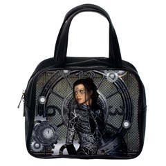 Steampunk, Steampunk Lady, Clocks And Gears In Silver Classic Handbags (one Side) by FantasyWorld7