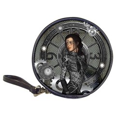 Steampunk, Steampunk Lady, Clocks And Gears In Silver Classic 20 Cd Wallets by FantasyWorld7
