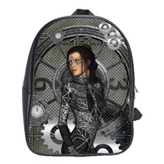 Steampunk, Steampunk Lady, Clocks And Gears In Silver School Bag (large) by FantasyWorld7