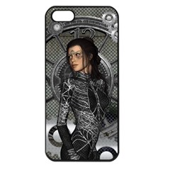 Steampunk, Steampunk Lady, Clocks And Gears In Silver Apple Iphone 5 Seamless Case (black) by FantasyWorld7