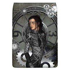 Steampunk, Steampunk Lady, Clocks And Gears In Silver Flap Covers (l)  by FantasyWorld7