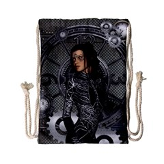 Steampunk, Steampunk Lady, Clocks And Gears In Silver Drawstring Bag (small) by FantasyWorld7