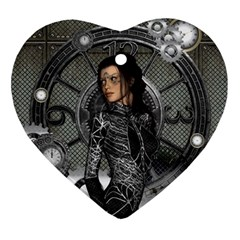 Steampunk, Steampunk Lady, Clocks And Gears In Silver Ornament (heart) by FantasyWorld7