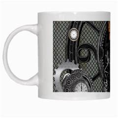 Steampunk, Steampunk Lady, Clocks And Gears In Silver White Mugs by FantasyWorld7