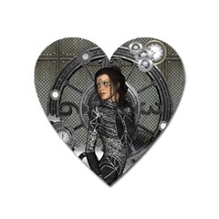 Steampunk, Steampunk Lady, Clocks And Gears In Silver Heart Magnet by FantasyWorld7