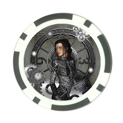 Steampunk, Steampunk Lady, Clocks And Gears In Silver Poker Chip Card Guard (10 Pack) by FantasyWorld7