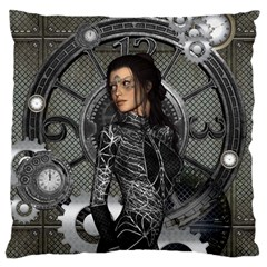 Steampunk, Steampunk Lady, Clocks And Gears In Silver Large Cushion Case (two Sides) by FantasyWorld7