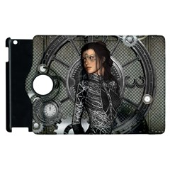 Steampunk, Steampunk Lady, Clocks And Gears In Silver Apple Ipad 3/4 Flip 360 Case by FantasyWorld7