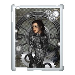 Steampunk, Steampunk Lady, Clocks And Gears In Silver Apple Ipad 3/4 Case (white) by FantasyWorld7