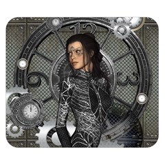 Steampunk, Steampunk Lady, Clocks And Gears In Silver Double Sided Flano Blanket (small)  by FantasyWorld7