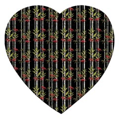 Bamboo Pattern Jigsaw Puzzle (heart) by ValentinaDesign
