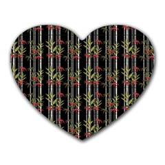 Bamboo Pattern Heart Mousepads by ValentinaDesign