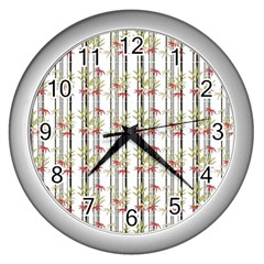 Bamboo Pattern Wall Clocks (silver)  by ValentinaDesign