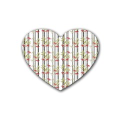 Bamboo Pattern Rubber Coaster (heart)  by ValentinaDesign