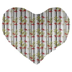 Bamboo Pattern Large 19  Premium Flano Heart Shape Cushions by ValentinaDesign