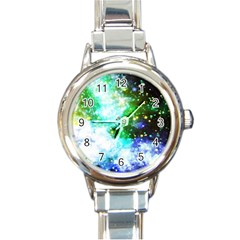 Space Colors Round Italian Charm Watch by ValentinaDesign