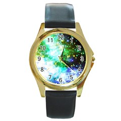 Space Colors Round Gold Metal Watch