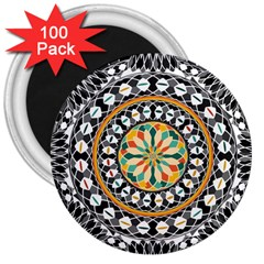 High Contrast Mandala 3  Magnets (100 Pack) by linceazul