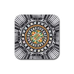High Contrast Mandala Rubber Square Coaster (4 Pack)  by linceazul