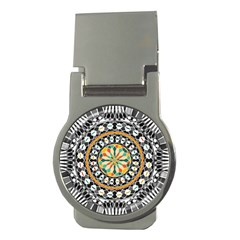 High Contrast Mandala Money Clips (round)  by linceazul