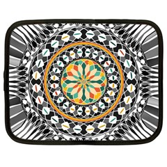 High Contrast Mandala Netbook Case (large) by linceazul