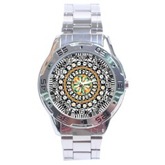 High Contrast Mandala Stainless Steel Analogue Watch by linceazul