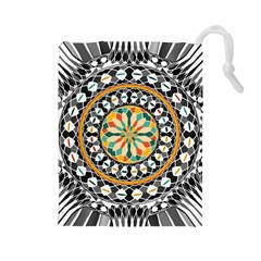 High Contrast Mandala Drawstring Pouches (large)  by linceazul