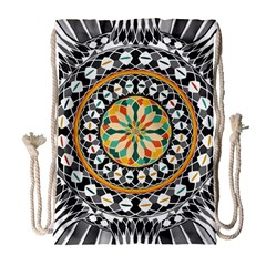 High Contrast Mandala Drawstring Bag (large) by linceazul