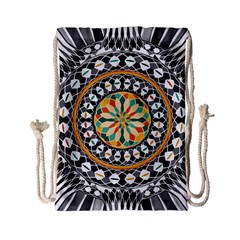 High Contrast Mandala Drawstring Bag (small) by linceazul