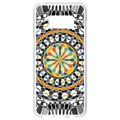 High Contrast Mandala Samsung Galaxy S8 White Seamless Case by linceazul