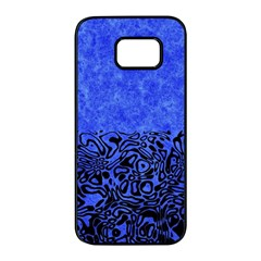 Modern Paperprint Blue Samsung Galaxy S7 Edge Black Seamless Case by MoreColorsinLife