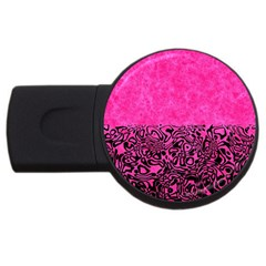Modern Paperprint Hot Pink Usb Flash Drive Round (2 Gb) by MoreColorsinLife