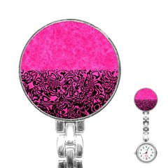 Modern Paperprint Hot Pink Stainless Steel Nurses Watch by MoreColorsinLife