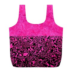Modern Paperprint Hot Pink Full Print Recycle Bags (l)  by MoreColorsinLife