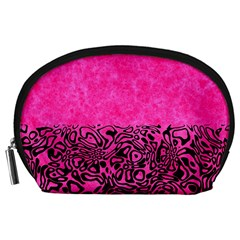 Modern Paperprint Hot Pink Accessory Pouches (large)  by MoreColorsinLife
