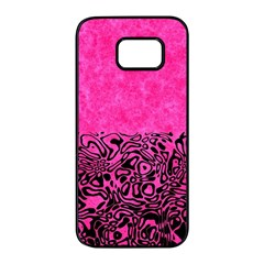 Modern Paperprint Hot Pink Samsung Galaxy S7 Edge Black Seamless Case by MoreColorsinLife