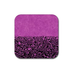 Modern Paperprint Pink Rubber Coaster (square)