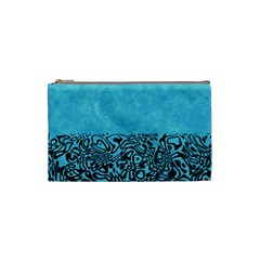 Modern Paperprint Turquoise Cosmetic Bag (small)  by MoreColorsinLife