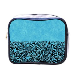 Modern Paperprint Turquoise Mini Toiletries Bags by MoreColorsinLife