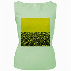 Modern Paperprint Yellow Women s Green Tank Top by MoreColorsinLife