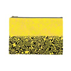 Modern Paperprint Yellow Cosmetic Bag (large)  by MoreColorsinLife