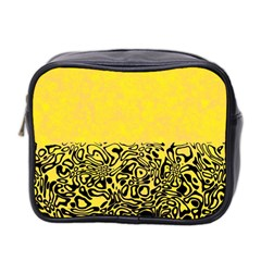 Modern Paperprint Yellow Mini Toiletries Bag 2 Side by MoreColorsinLife