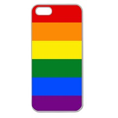 Pride Flag Apple Seamless Iphone 5 Case (clear) by Valentinaart