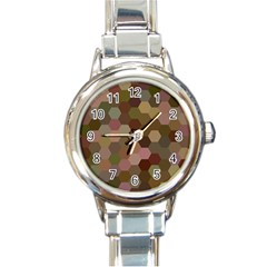 Brown Background Layout Polygon Round Italian Charm Watch by Nexatart
