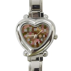 Brown Background Layout Polygon Heart Italian Charm Watch by Nexatart