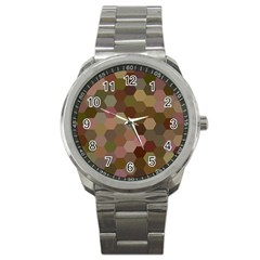Brown Background Layout Polygon Sport Metal Watch